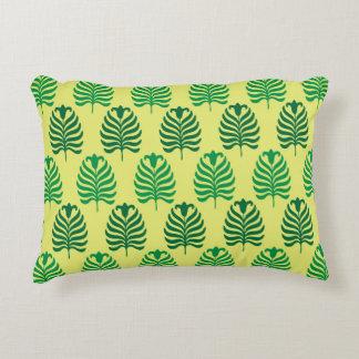Palmette amarillo verde abstracto del vintage cojín