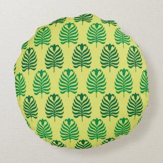 Palmette amarillo verde abstracto del vintage cojín redondo
