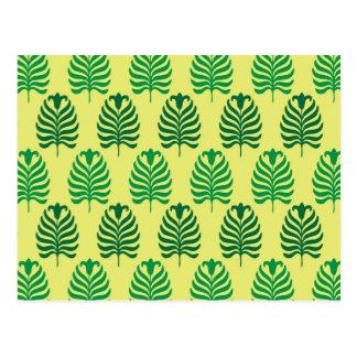 Palmette amarillo verde abstracto del vintage postal