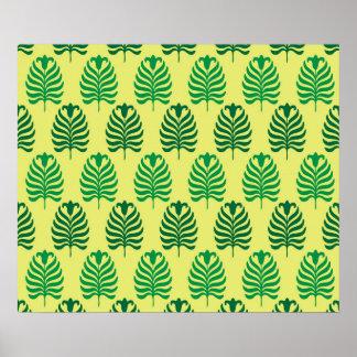 Palmette amarillo verde abstracto del vintage póster