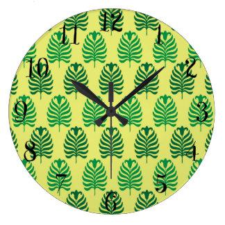 Palmette amarillo verde abstracto del vintage reloj redondo grande
