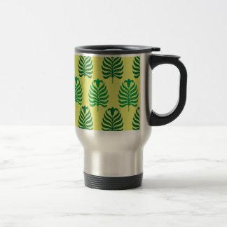 Palmette amarillo verde abstracto del vintage taza de viaje