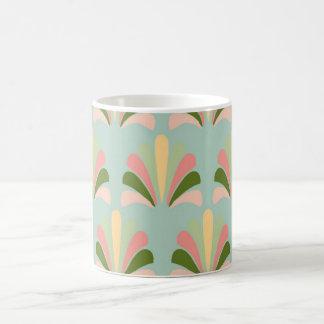 Palmette amarillo verde rosado abstracto del taza mágica