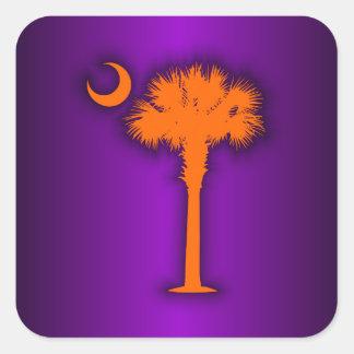 Palmetto anaranjado pegatina cuadrada