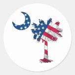 Palmetto de la bandera americana etiqueta redonda