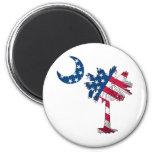 Palmetto de la bandera americana iman de frigorífico