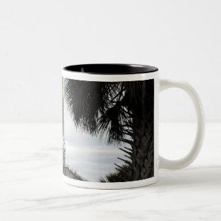 Palmetto trees frame space shuttle Endeavour Two-Tone Coffee Mug