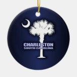 Palmetto y creciente (Charleston) del SC Adorno Navideño Redondo De Cerámica