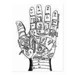 Palmistry Hand Map Post Cards