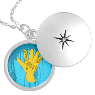 Palmistry Rock and Roll Round Locket Necklace