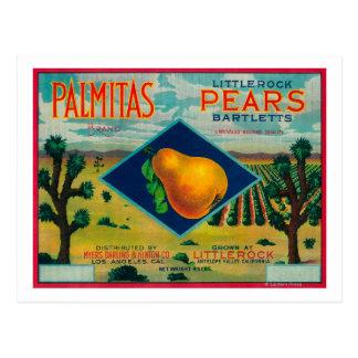 Palmitas Pear Crate LabelAntelope Valley, CA Postcard