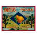 Palmitas Pear Crate LabelAntelope Valley, CA Poster