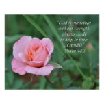 Palms 46:1 Rose Encouragement Poster
