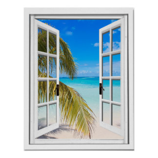 Palms and Beach Artificial Window View Poster