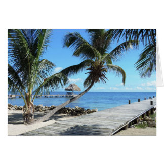 Palms and Pier in Belize Card