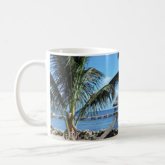 Palms and Pier in Belize Coffee Mug