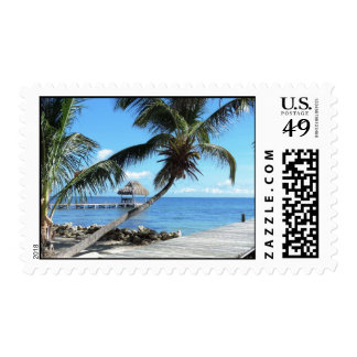 Palms and Pier in Belize Postage