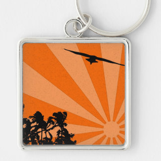 Palms and seagull Keychain Silver-Colored Square Keychain