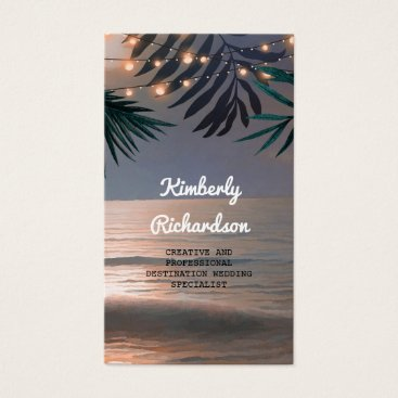 Beach Themed Palms and String Lights Beach Sunset Destination Business Card