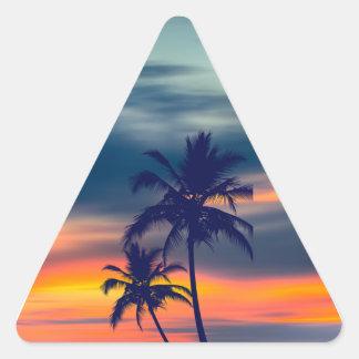 Palms and sunset triangle triangle sticker
