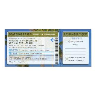 "palms boarding pass wedding ticket-invite & rsvp 4"" x 9.25"" invitation card"