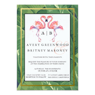 Palms & Flamingos Wedding Invitation