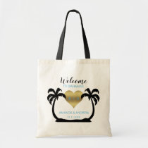 Palms Gold Heart Welcome Wedding Gift Tote Bag