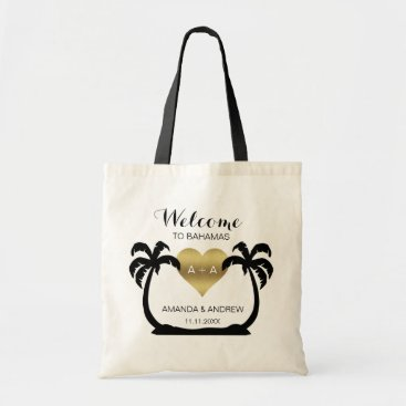 Valentines Themed Palms Gold Heart Welcome Wedding Gift Tote Bag