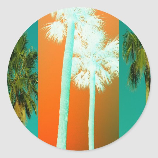 Palms In Abstract Classic Round Sticker