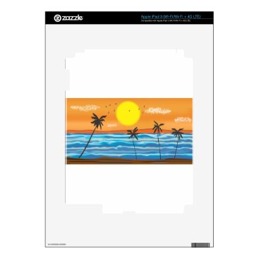 Beach Themed Palms, natural landscape decal for iPad 3