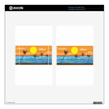 Beach Themed Palms, natural landscape decal for kindle fire