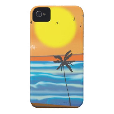 Beach Themed Palms, natural landscape iPhone 4 case