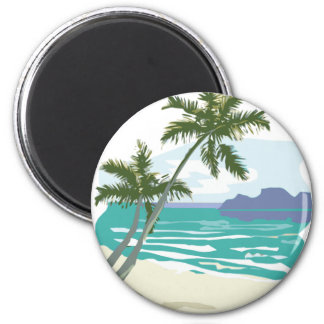 Palms, Ocean & Mountains 2 Inch Round Magnet