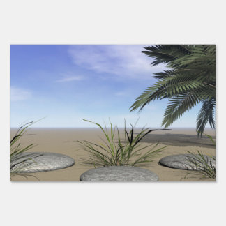 palms zen and steps yard sign