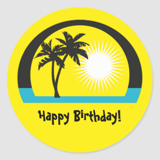 PalmTree, Happy Birthday! Round Sticker