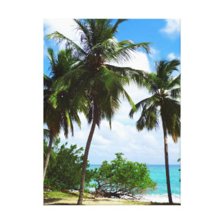 Palmtrees on Tropical Seascape Canvas Print