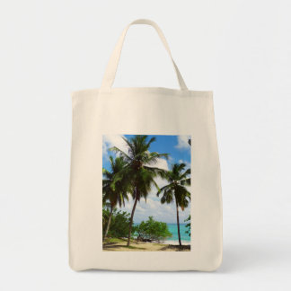 Palmtrees on Tropical Seascape Grocery Tote Bag