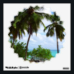 """Palmtrees on Tropical Seascape wall decals<br><div class=""""desc"""">Peacefull and Exotic Wild Caribbean Beach with Palm trees</div>"""