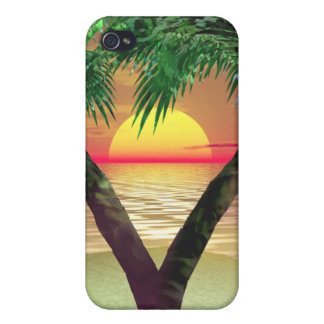 Palmtrees Sunset Frame iPhone 4 Case