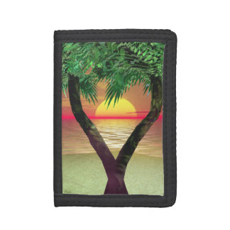 Palmtrees Sunset Frame Trifold Wallet