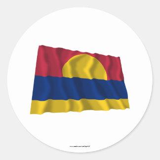 Palmyra Atoll Waving Flag Classic Round Sticker