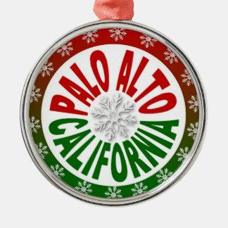 Palo Alto California red green holiday ornament