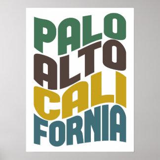 Palo Alto California Retro Wave Poster