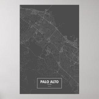Palo Alto, California (white on black) Poster
