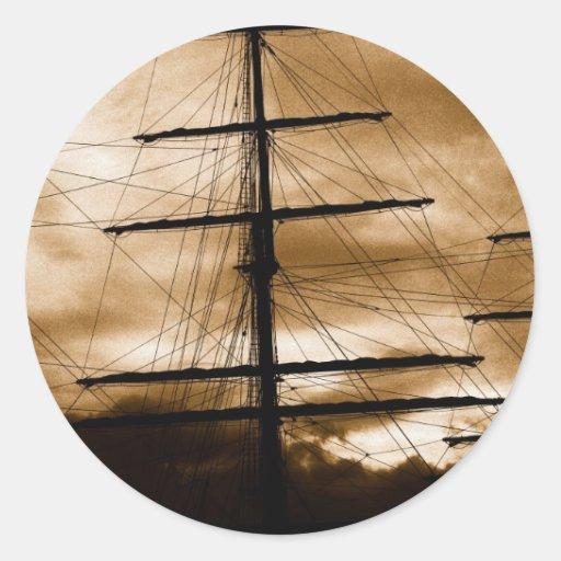 Palo alto de la nave pegatinas redondas