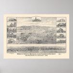 Palo Alto, mapa panorámico 1888 (1658A) del CA Posters