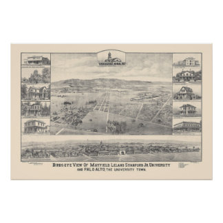 Palo Alto, mapa panorámico 1888 (1658A) del CA Póster