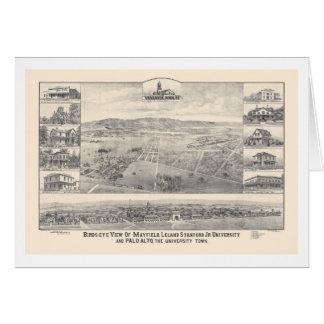 Palo Alto, mapa panorámico 1888 (1658A) del CA Tarjeta De Felicitación