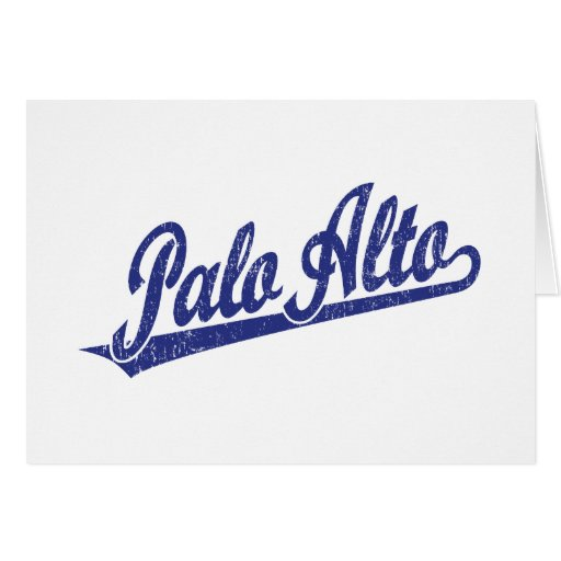 Palo Alto script logo in blue distressed Card