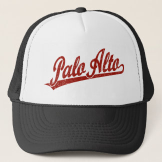 Palo Alto script logo in red distressed Trucker Hat
